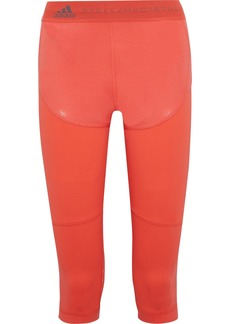 Adidas By Stella Mccartney Woman Run Cropped Paneled Coated Climalite And Mesh Leggings Coral