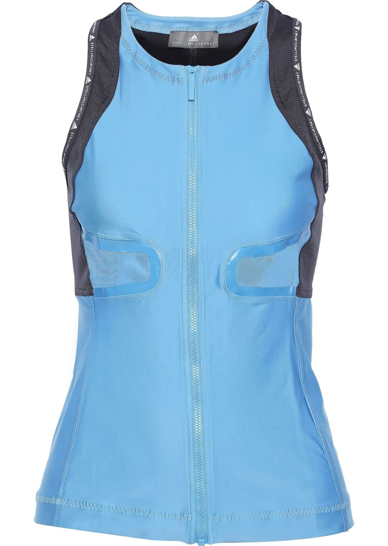 Adidas By Stella Mccartney Woman Run Mesh-paneled Cutout Two-tone Climalite Tank Light Blue