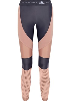 Adidas By Stella Mccartney Woman Run Perforated Two-tone Climalite Leggings Blush