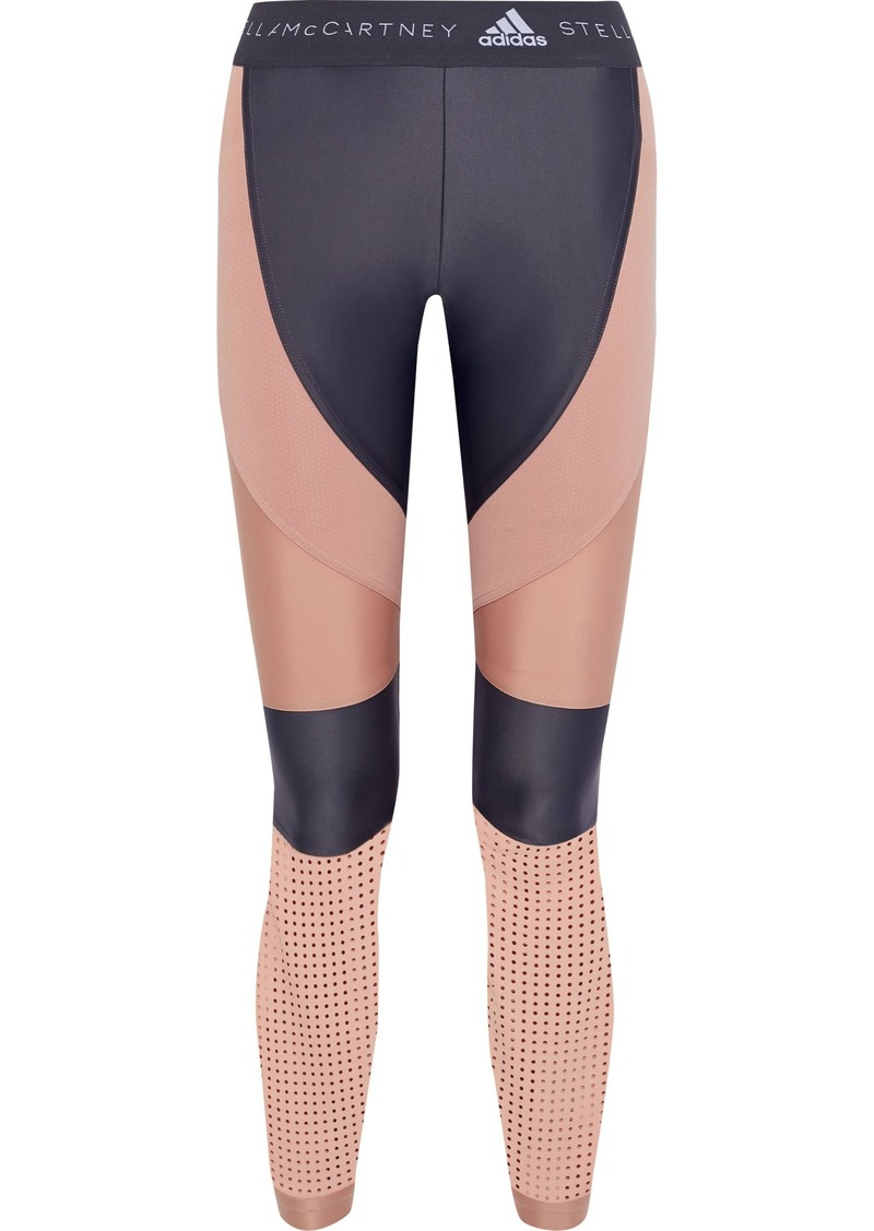 Adidas By Stella Mccartney Woman Run Perforated Two-tone Climalite Leggings Blush