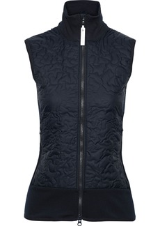 Adidas By Stella Mccartney Woman Run Stretch Jersey-paneled Quilted Shell Vest Midnight Blue