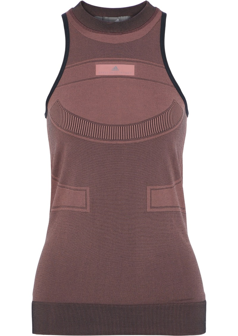 Adidas By Stella Mccartney Woman Run Ultra Open Knit-paneled Stretch-jacquard Tank Antique Rose