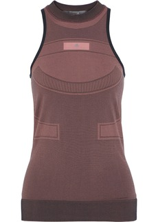 Adidas By Stella Mccartney Woman Run Ultra Open Knit-paneled Stretch-jacquard Tank Antique Rose