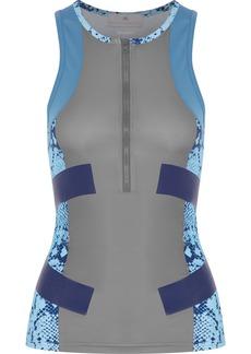 Adidas By Stella Mccartney Woman Running Techfit Paneled Snake-print Scuba Tank Gray