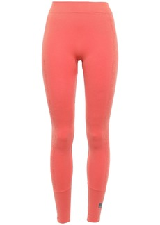 Adidas By Stella Mccartney Woman Seamless Jacquard-trimmed Stretch Leggings Coral