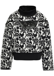Adidas By Stella Mccartney Woman Shell-trimmed Scuba And Floral-jacquard Sweatshirt Black