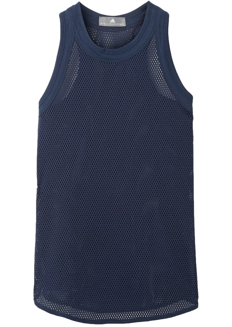 Adidas By Stella Mccartney Woman Stretch-mesh Tank Navy