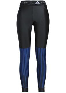 Adidas By Stella Mccartney Woman Striped Stretch Leggings Black