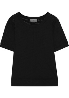 Adidas By Stella Mccartney Woman The Cool Logo Burnout Cotton-blend Jersey T-shirt Black