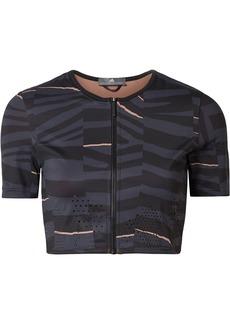 Adidas By Stella Mccartney Woman Train Cropped Printed Climalite Stretch Top Black