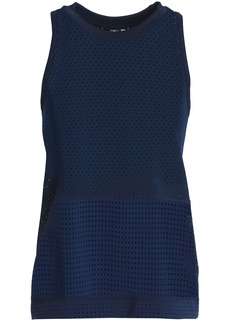 Adidas By Stella Mccartney Woman Train Hiit Striped Perforated Climacool Tank Navy