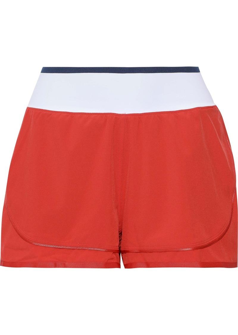 Adidas By Stella Mccartney Woman Training High Intensity Two-tone Scuba Shorts Tomato Red