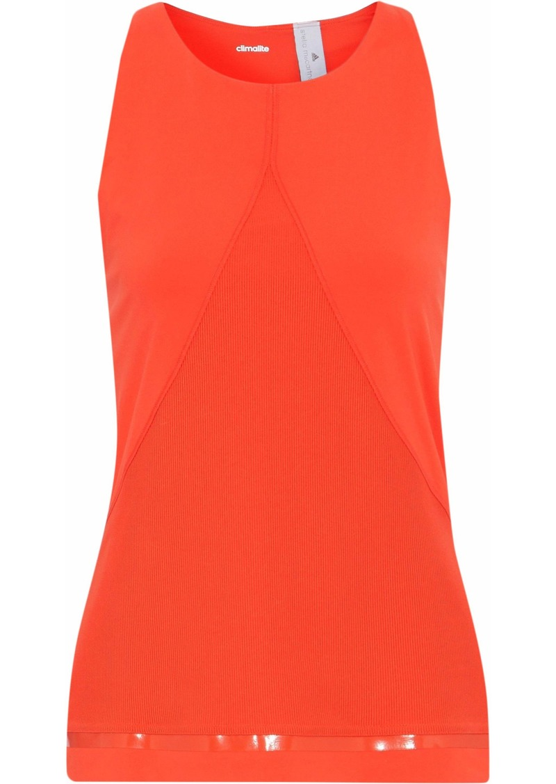 Adidas By Stella Mccartney Woman Training Ribbed Jersey-paneled Stretch Tank Bright Orange