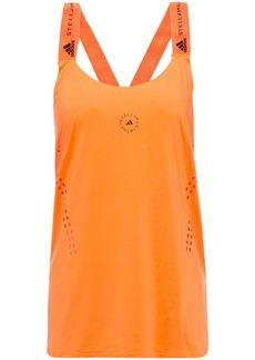 Adidas By Stella Mccartney Woman Truepurpose Perforated Logo-print Neon Stretch Tank Bright Orange