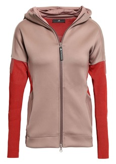 Adidas By Stella Mccartney Woman Two-tone Ribbed-knit And Scuba Hooded Jacket Antique Rose
