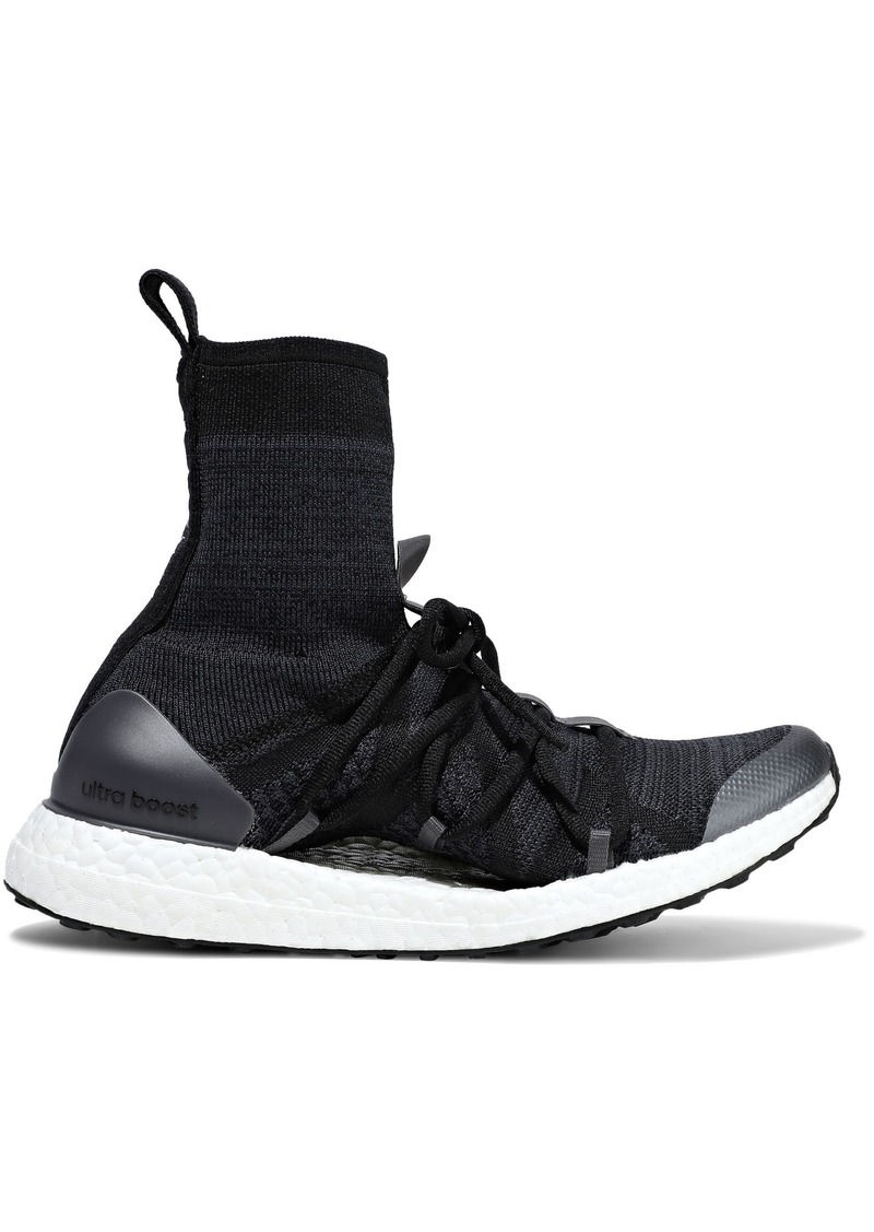 Adidas By Stella Mccartney Woman Ultraboost Stretch-knit High-top Sneakers Midnight Blue