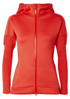 Adidas By Stella Mccartney Woman Z.n.e. Ribbed Knit-paneled Stretch-jersey Hooded Top Red