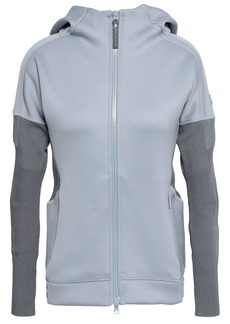 Adidas By Stella Mccartney Woman Z.n.e. Ribbed Knit-paneled Stretch-jersey Hooded Top Stone