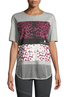 Adidas by Stella McCartney Essentials Crewneck Leopard-Print Performance Tee