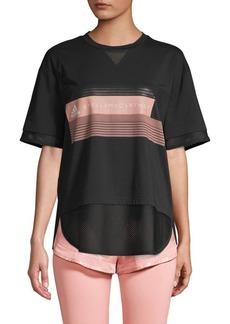 Adidas by Stella McCartney Mesh-Trim Logo Graphic Tee