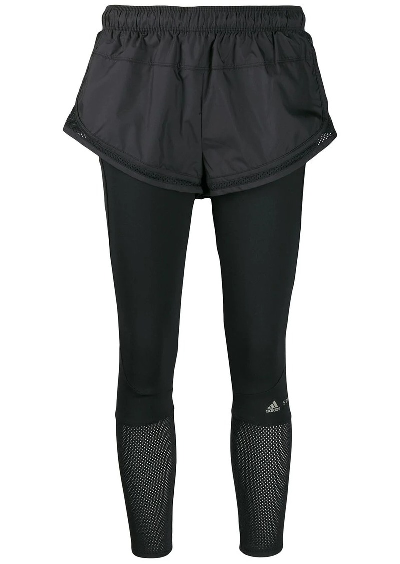 Adidas by Stella McCartney Performance Essentials shorts over leggings