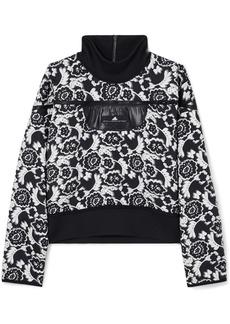 Adidas by Stella McCartney Stretch Jersey-trimmed Floral-jacquard Sweatshirt