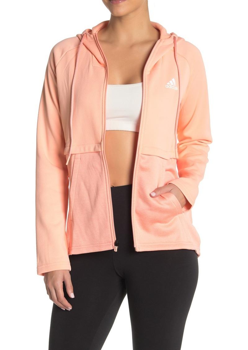 Adidas Colorblock Zip Up Hooded Tech Jacket