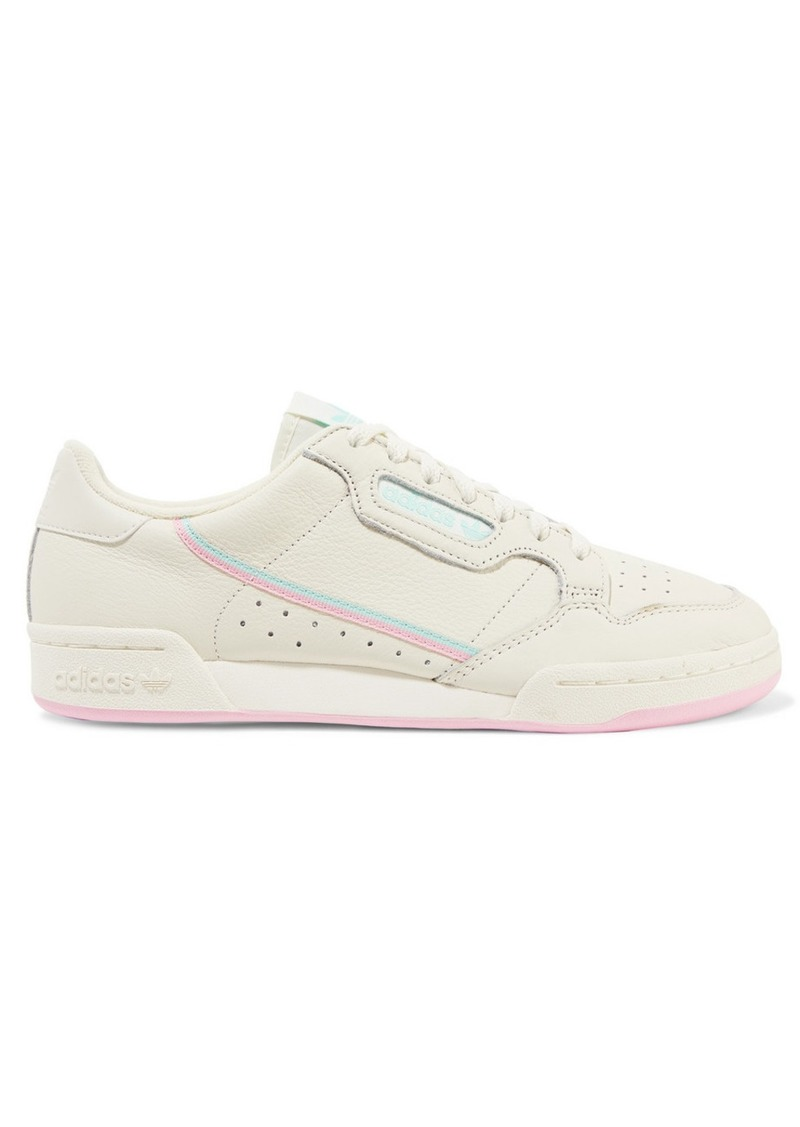 Adidas Continental 80 Grosgrain-trimmed Textured-leather Sneakers