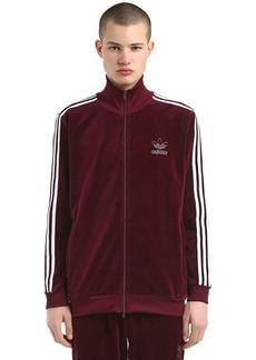Adidas Cotton Blend Velour Track Jacket