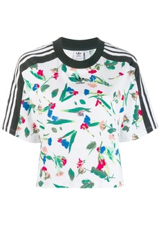 Adidas cropped allover print T-shirt