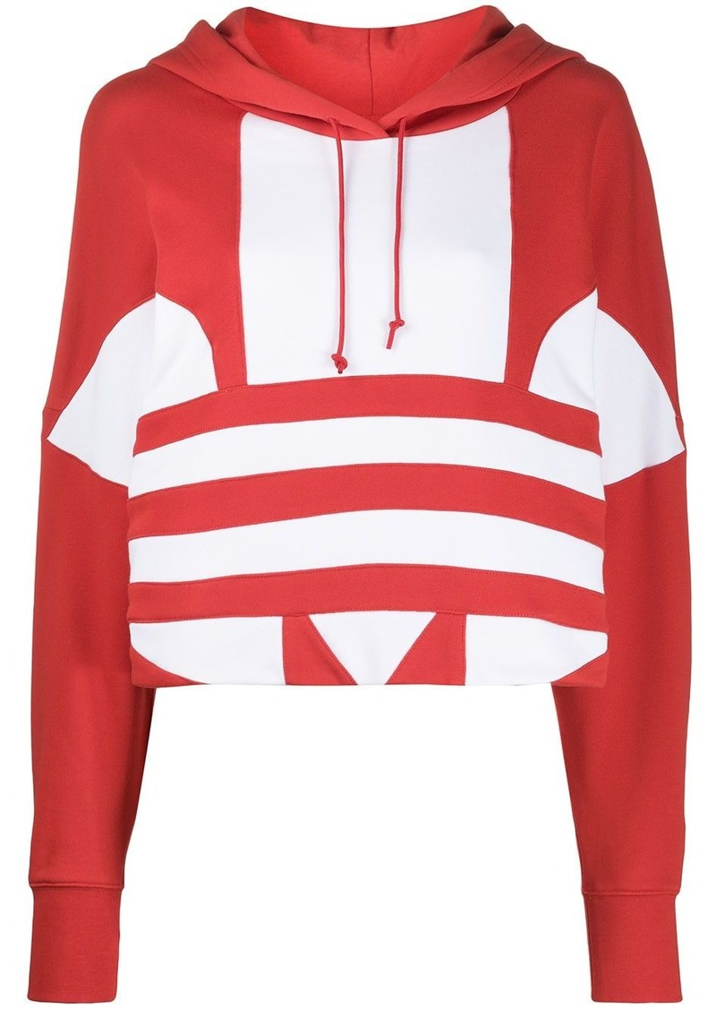 Adidas cropped logo print hoodie