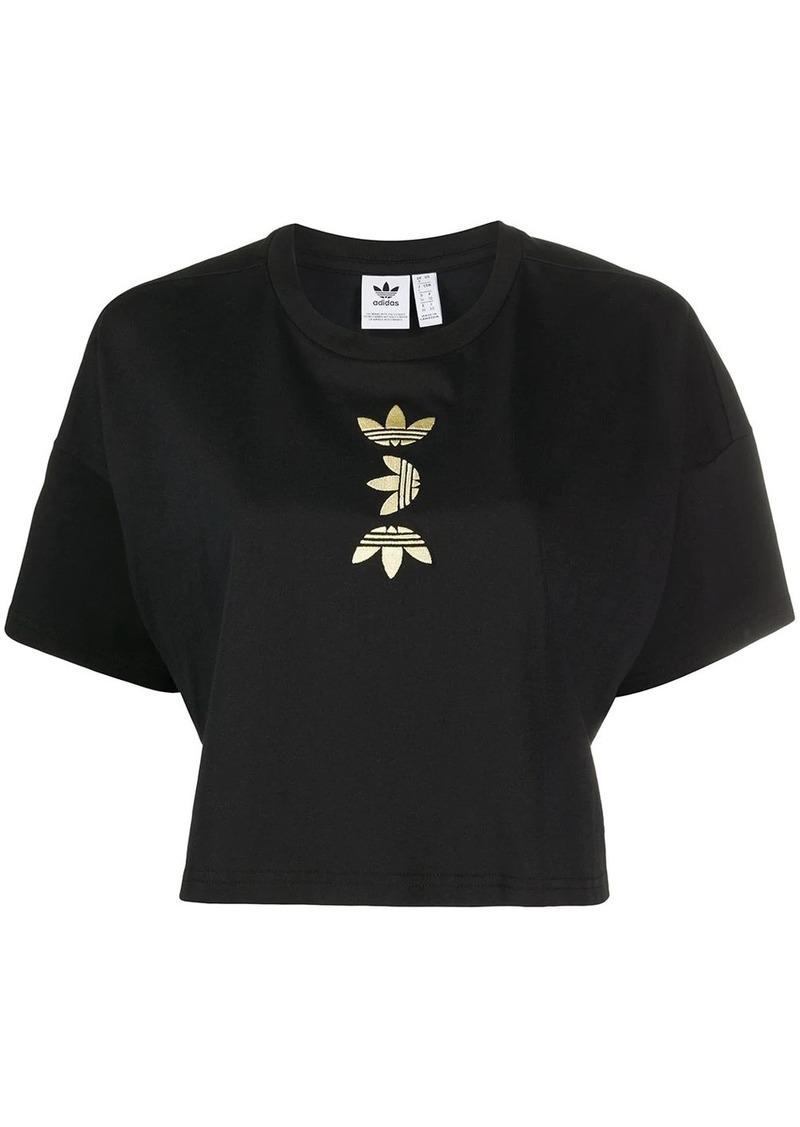 Adidas cropped logo print T-shirt