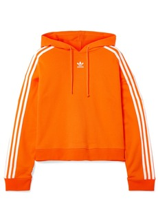 Adidas Cropped Striped Cotton-terry Hoodie