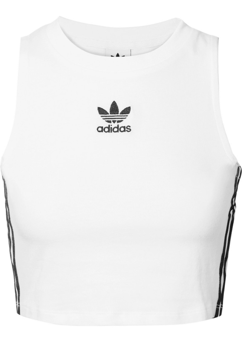 Adidas Cropped Striped Stretch-cotton Jersey Tank
