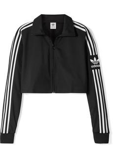 Adidas Cropped Striped Tech-jersey Track Jacket