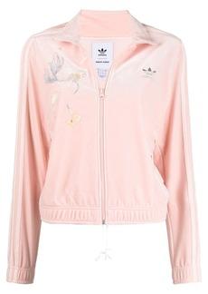 Adidas embroidered details velour jacket