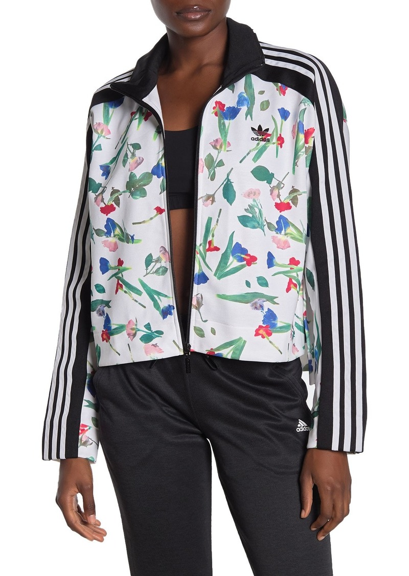 Adidas Floral Print Front Zip Jacket