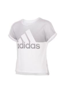 Adidas Girl's Two-Toned Logo Sport T-Shirt