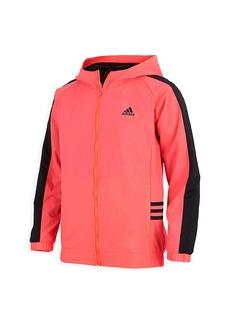 Adidas Girl's Zip Front Core Wind Hooded Jacket