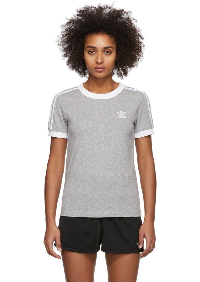 Adidas Grey 3-Stripes T-Shirt