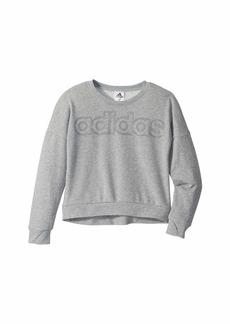 Adidas Heather Linear Crew Neck Sweatshirt (Big Kids)