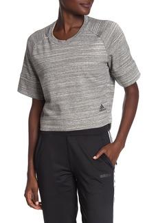 Adidas Heathered Raglan Sleeve Crop Sweatshirt