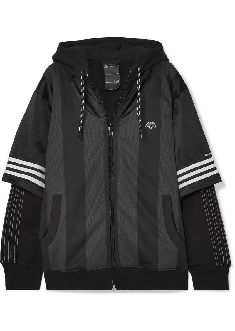 Adidas Hooded Layered Fleece, Mesh And Tech-jersey Jacket