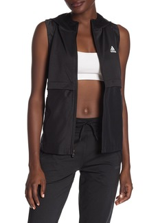 Adidas Hooded Zip Front Drawcord Hem Active Vest