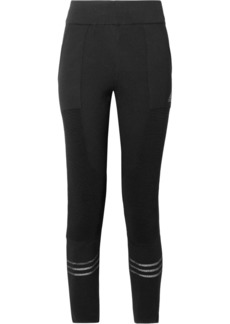 Icon mesh-trimmed stretch-knit leggings