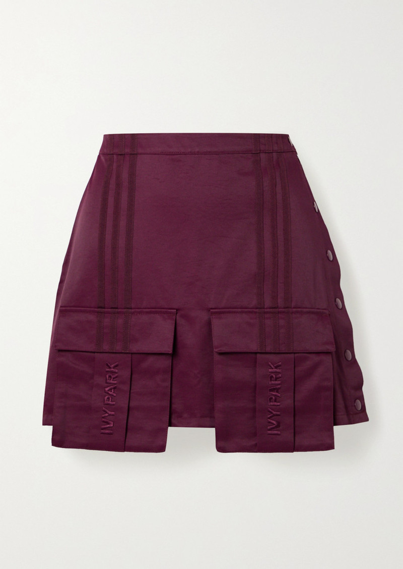 Adidas Ivy Park Grosgrain-trimmed Cotton-blend Satin-twill Mini Skirt