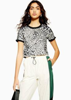 Leopard Print Three Stripe T Shirt By Adidas