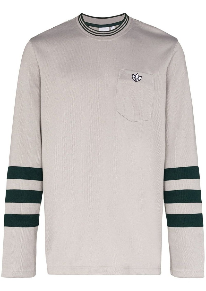 Adidas logo embroidered long sleeve T-shirt