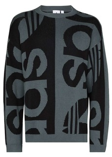 Adidas logo-intarsia crew-neck jumper