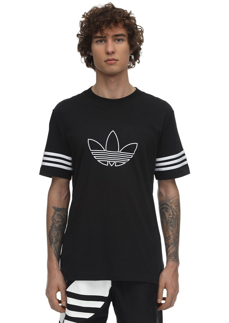 Adidas Logo Outline Cotton Jersey T-shirt